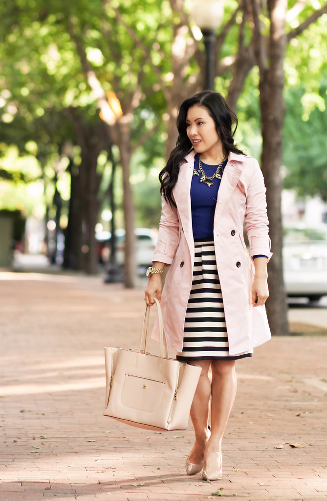 Pink Navy Stripes Color Brigade Link Up Cute