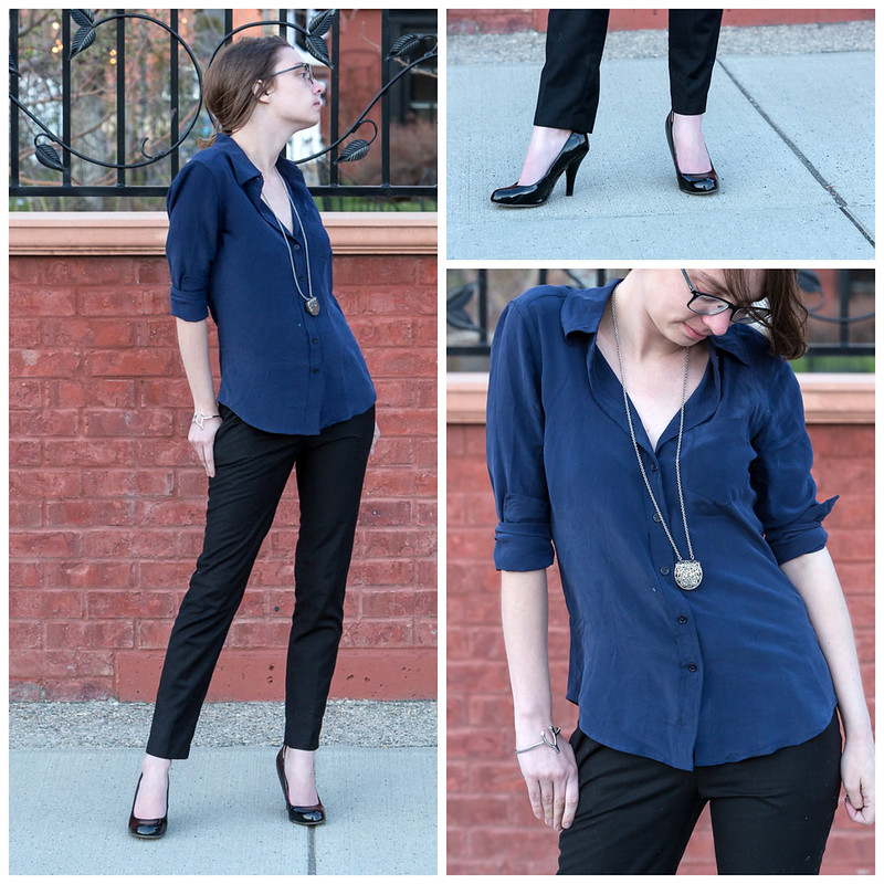 popbasic, silk shirt, blue shirt, silver jewelry, cigarette pants, school, work wear, wyoming,