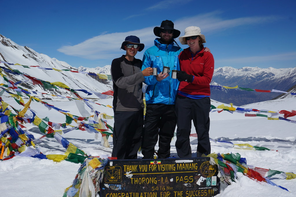 Andrew, Annemarie & Marco at the Thorong La Pass