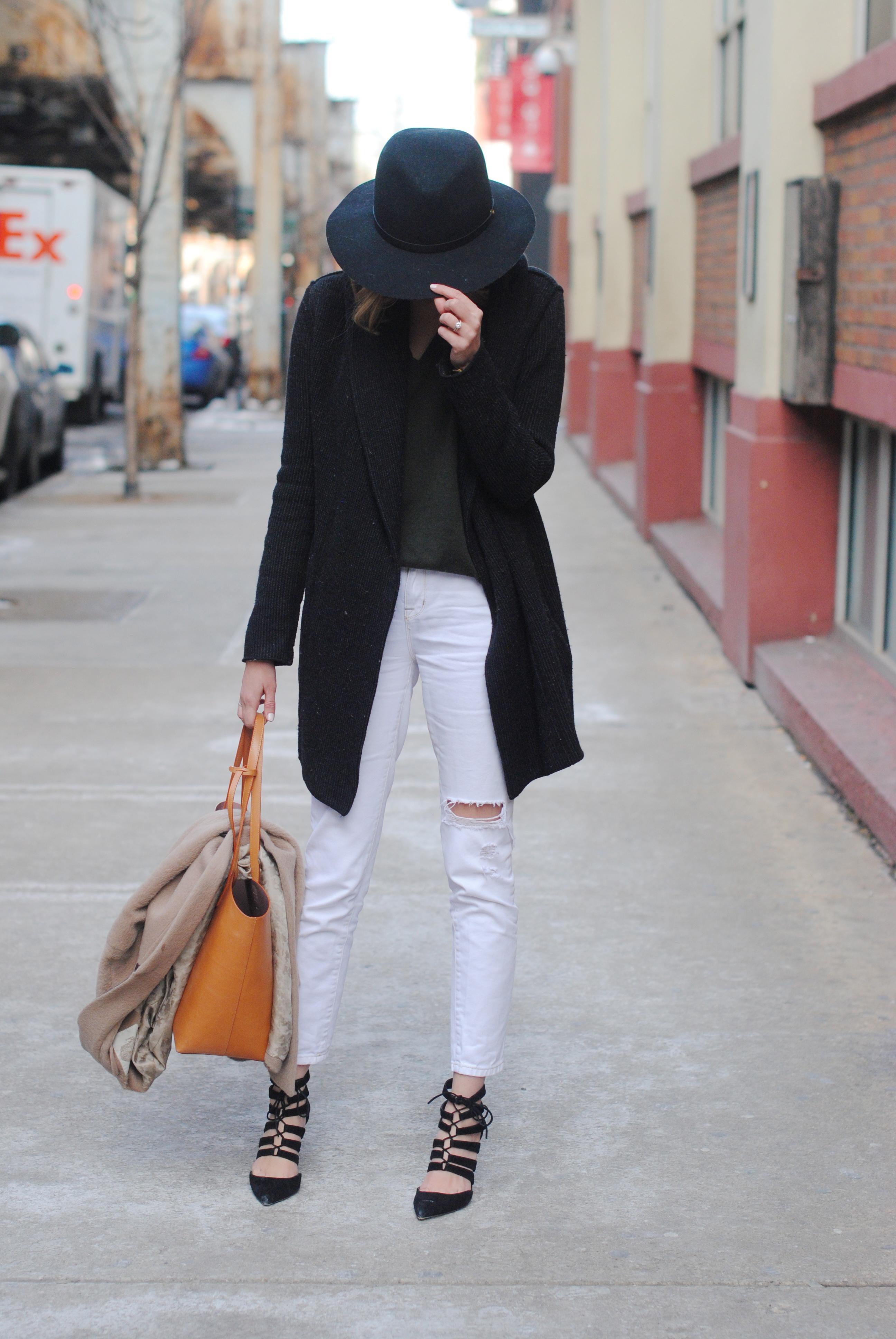 5721478884 BDG high-rise white jeans (similar), J Crew heels, Mansur Gavriel tote,  ASOS camel coat, rag & bone floppy brim fedora (yes, ...