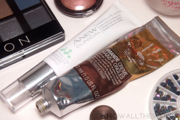 Avon Anew Clinical Absolute Even Dark Circle Corrector & Body Shop Almond Hand & Nail Cream