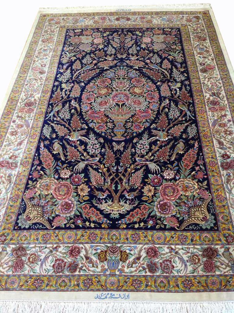 Qum Pure Silk Persian Rug Grand Master Mir Mehdiei 5x7 (1)