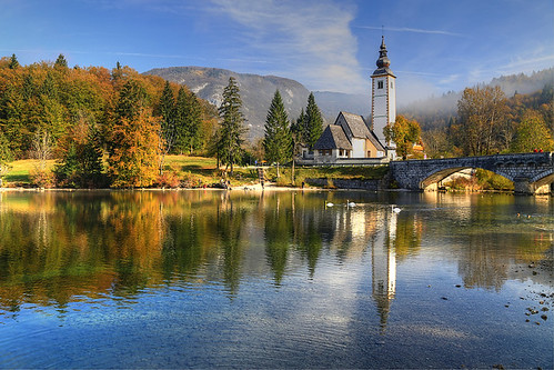morning bridge autumn lake church slovenia slovenija bohinj slovenie