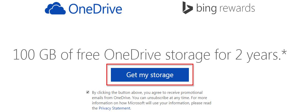 按一下 [Get my storage]