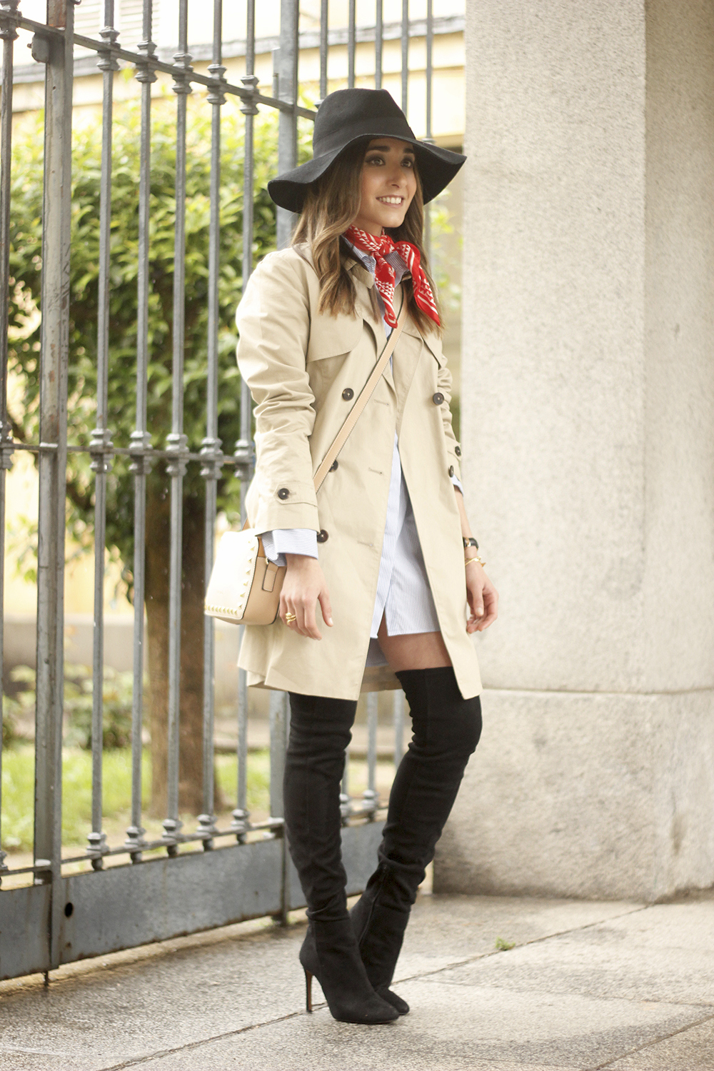 trench dress shirt over the knee boots red bandana hat pepe moll bag21