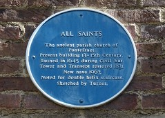Photo of Joseph Mallord William Turner and All Saints, Pontefract blue plaque