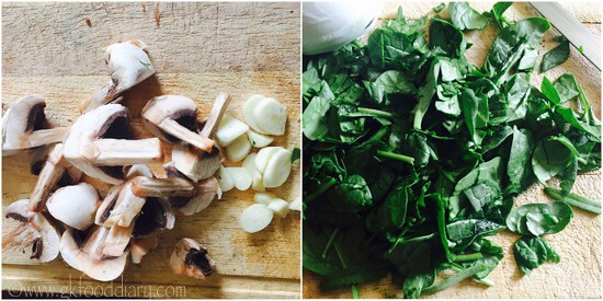 Mushroom Spinach Pasta Recipe for Toddlers and kids - step 1