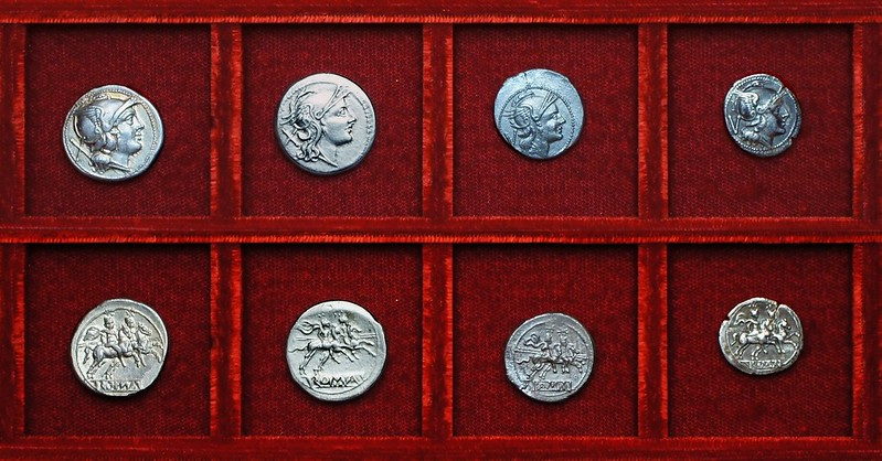 RRC 044 Anonymous Denarii and Quinarii, one with a dot mintmark, Ahala collection, coins of the Roman Republic