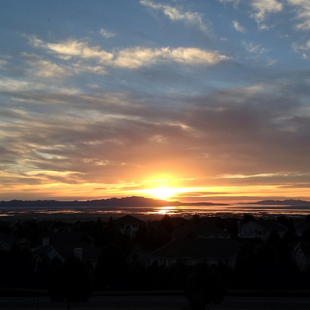 Oh man, what a beautiful end to a beautiful day! #sunset #cloudsarecool #skyporn #thegreatsaltlake #utah #weddingday #instagood