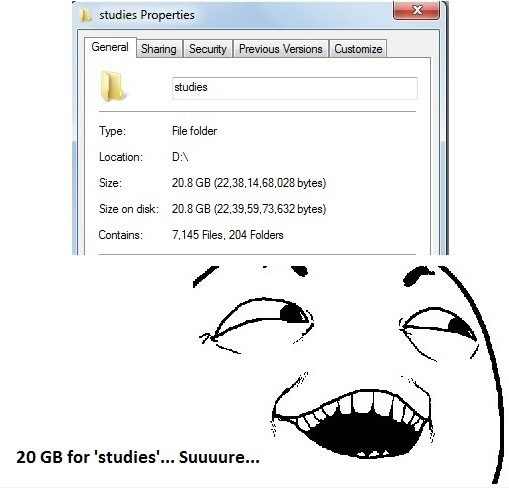 20 GB for 'studies'