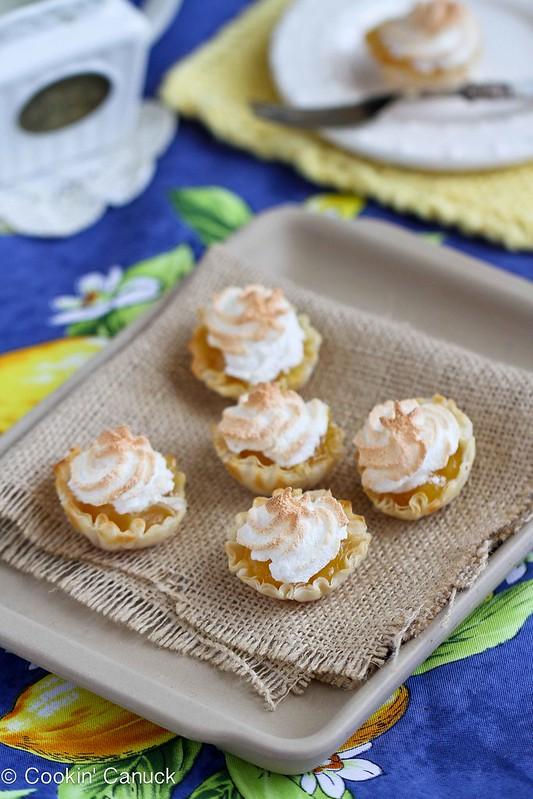 Mini Lemon Meringue Pie Fillo Tartlet Recipe...51 calories and 1 Weight Watchers PP | cookincanuck.com #dessert