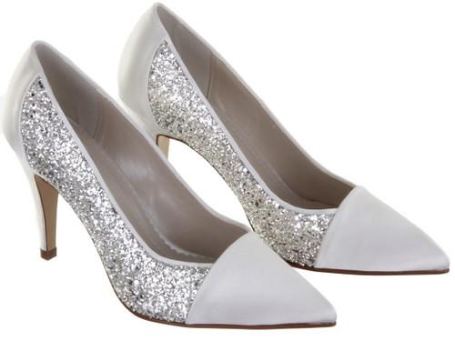 White Silver Bridal Shoes