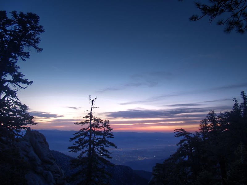 Sunrise and the lights of Palm Springs from our campsite on the ridge east of Red Tahquitz - CS0175