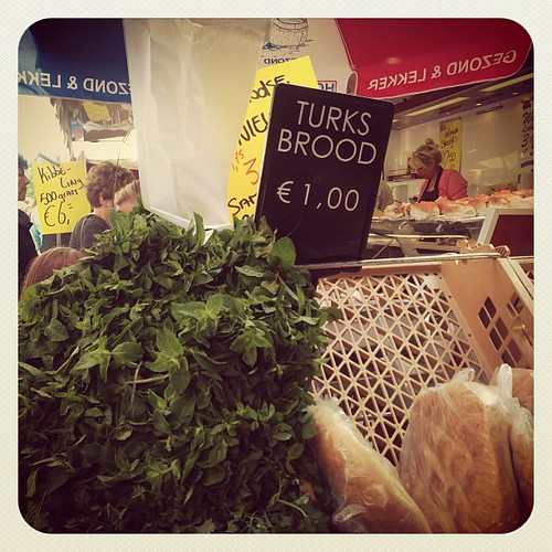 A free bunch of #mint leaves when you spend over 5 euros! You know I'm a mint tea lover so I didn't duty! @ilias is a true #moroccan! Stop by his delicatessen if in #leiden on a Saturday! He has a gorgeous stand selling #breads and #dips and #arganoil (I
