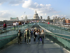 Walking across London's Millenium Bridge