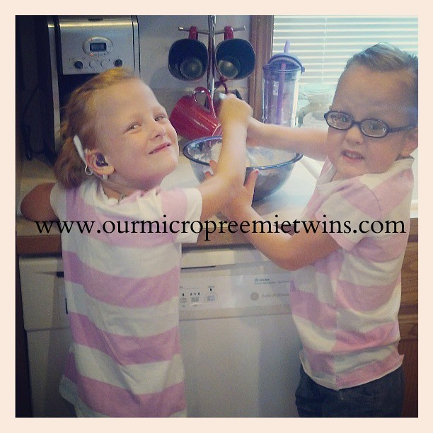 Grace and Faith making saturday morning pancakes!! :-) #twins #whendidmybabiesgetsobig #lovethemsoverymuch