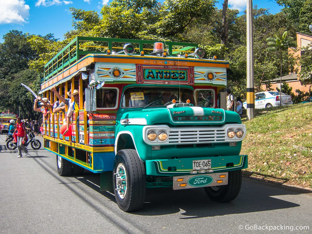 As the winner of the 2012 chiva competition, this bus from Andes gets to lead the 2013 Chivas and Flowers parade