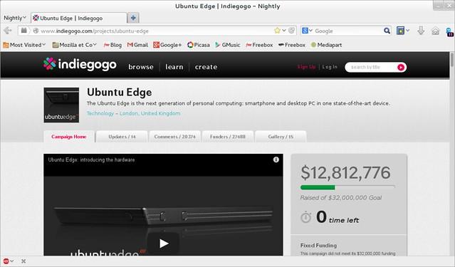 Fin campagne indiegogo ubuntu edge