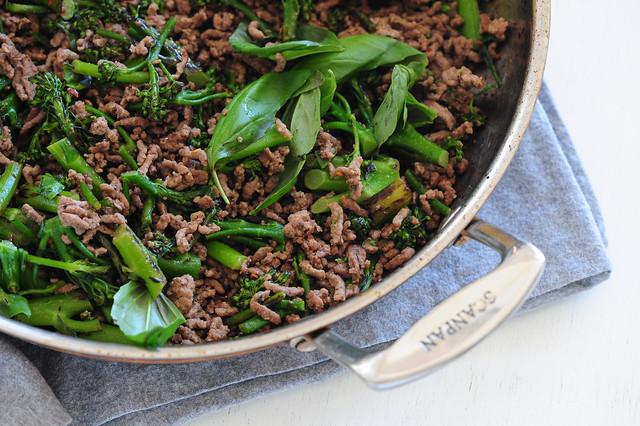 beef, broccolini & basil