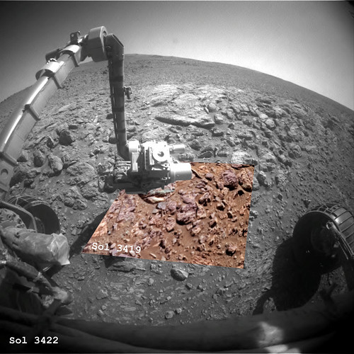 Opportunity Sol 3419 3422 Front HazCame and PanCam - Monjon