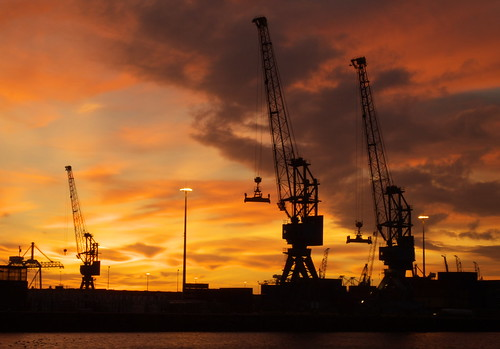 docks and cranes silhouettes
