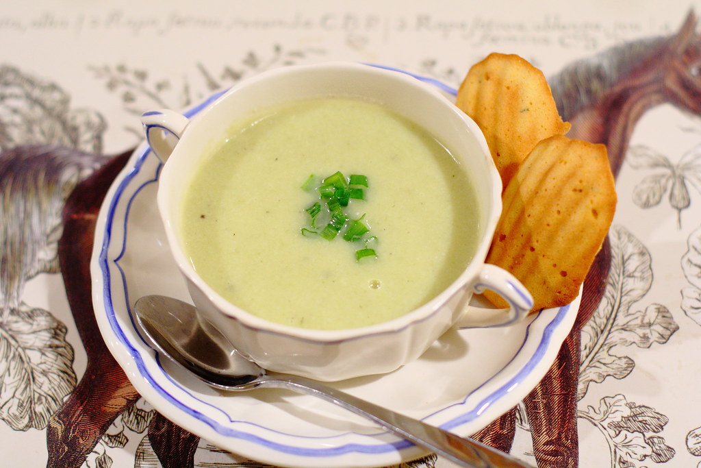 Fennel, Leek, and Cauliflower Soup with Rosemary and Roasted Garlic Cornbread Madeleines