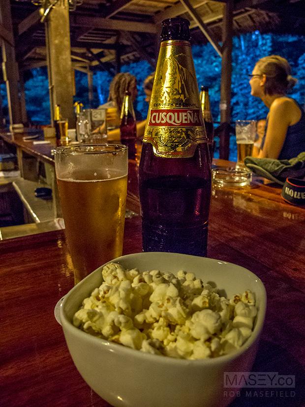 Popcorn + beer + good friends = WINNING!