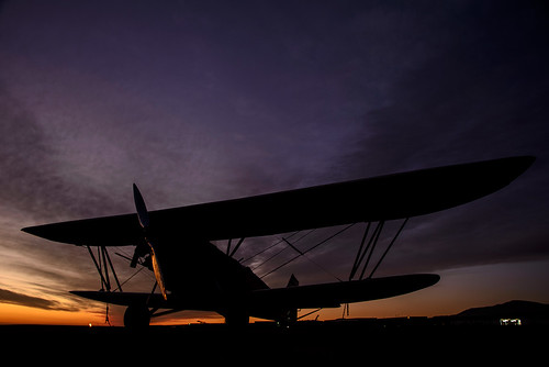 california sunset silhouette airport aircraft cable airshow socal biplane upland 2014 d25 newstandard n930v