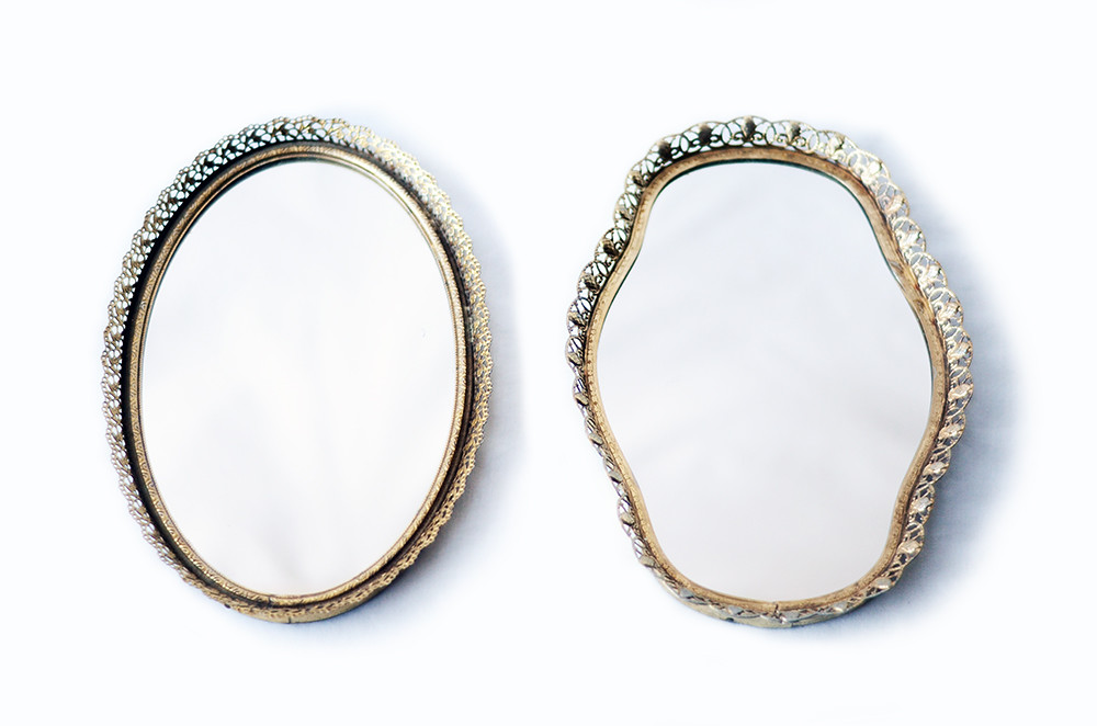 Two Vintage Mirrors in Metal Filigree Frames