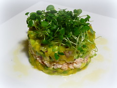 Prawn and crab timbale with avocado and mango sals…