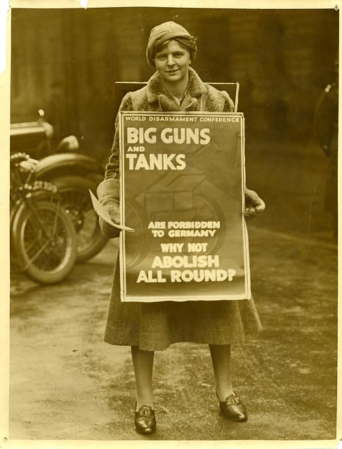 This unknown WILPF member is publicising the 1932 World Disarmament conference. It is possible that she is also collecting signatures for the world disarmament petition. Credit: LSE Library