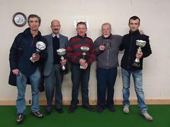 15/02/2014 - Saint Martin des Champs : Les finalistes du concours de boules plombées en doublettes mêlées