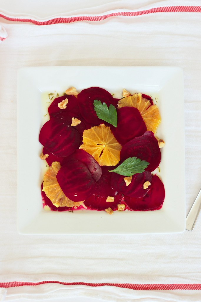 {beetroot-orange carpaccio with truffled dill oil and walnuts}