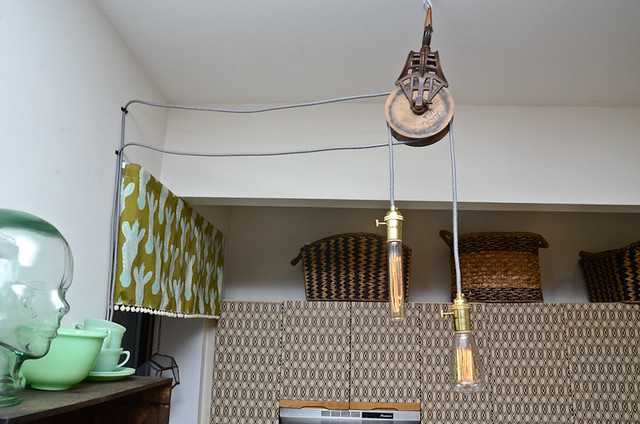 DIY Pendant Light with Barn Pulley