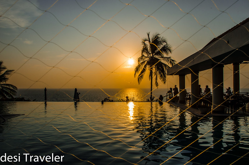 sunset from Leela Kovalam Kerala Blog Express