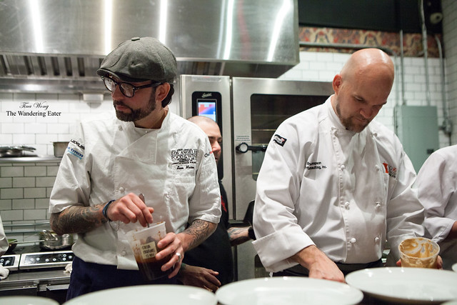 Chef Sam Mason (left) and Chef Brad Thompson (right), plating dessert