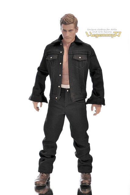 1/ 6 scale hip hop rapper black baggy denim jeans pants and jacket