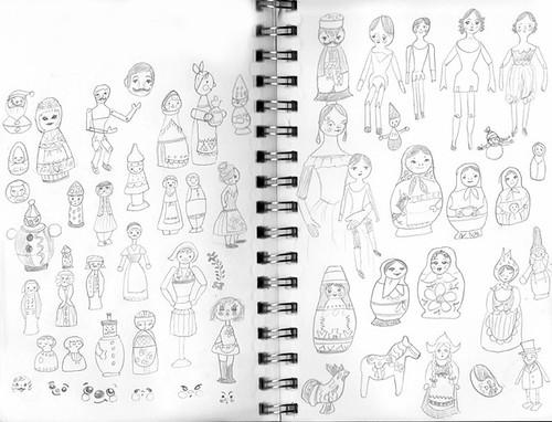 vintage dolls sketch