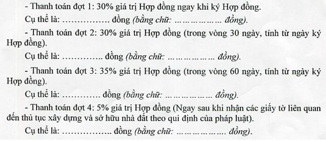 Thanh toan block C - Du An An Hoa