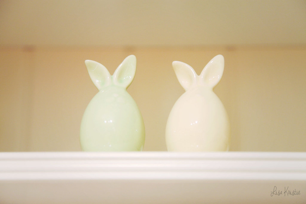 porcelain bunnies modern ears rabbits figurines statuettes statues yellow green pastel adorable cute decoration easter baby nursery bedroom home shelf