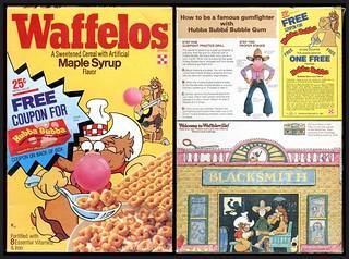 Vintage Ralston Waffelos Cereal Box Hubba Bubba