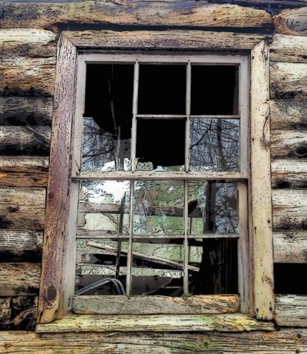reflection art abandoned window cabin view decay rustic logs shutter collapsed