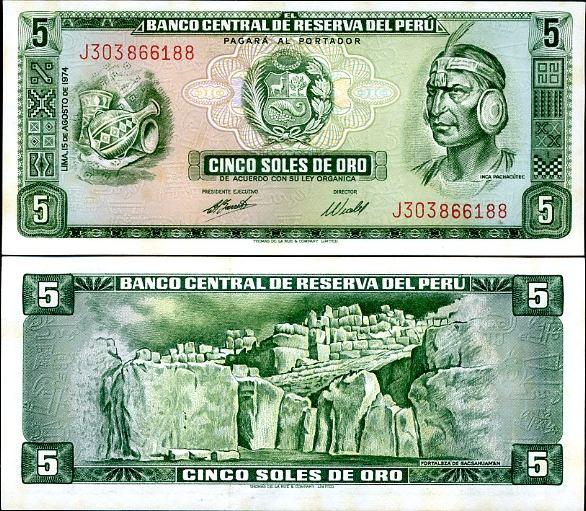 5 Soles De Oro Peru 1974, 99c