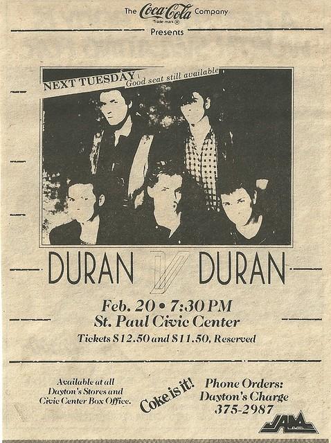 02/20/84 Duran Duran @ St. Paul Civic Center, St. Paul, MN (ad)