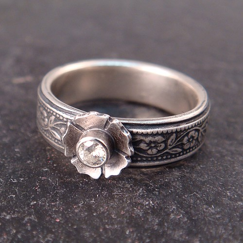 Custom sterling silver ring by Chuck Domitrovich of Down to the Wire Designs