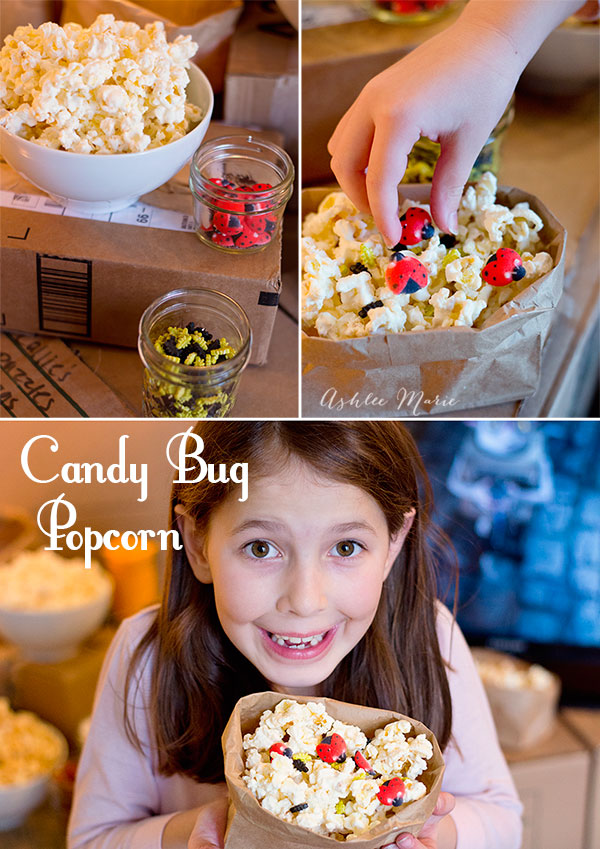 I used candy bugs over candy popcorn for our family viewing of The Boxtrolls