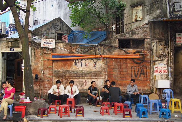 men drinking coffee, Hanoi, Vietnam