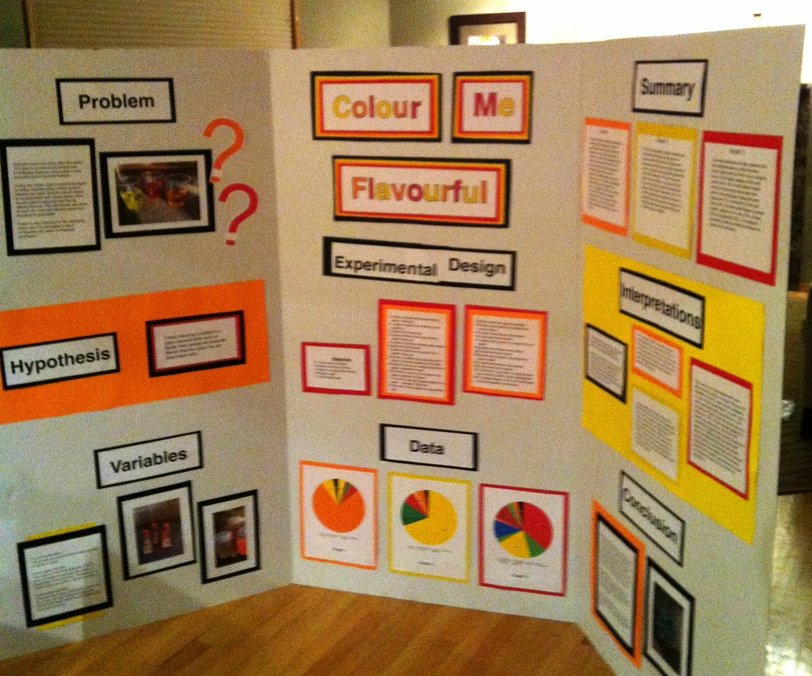 science fair board on How colourful affects taste perception