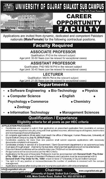 University of Gujrat Sialkot Campus Jobs