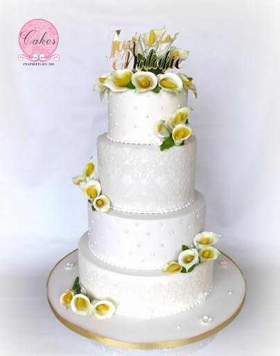 Calla Lilies, Lace and Pearls Wedding Cake by Aneesa Fredericksburg of Cakes Inspired by Me